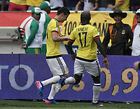 BARRANQUILLA - COLOMBIA - 23-03-2017:  James Rodriguez jugador de Colombia celebra después de anotar un gol a Bolivia durante partido de la fecha 13 para la clasificación a la Copa Mundial de la FIFA Rusia 2018 jugado en el estadio Metropolitano Roberto Melendez en Barranquilla. /  James Rodriguez  player of Colombia celebrates after scoring a goal to Bolivia during match of the date 13 for the qualifier to FIFA World Cup Russia 2018 played at Metropolitan stadium Roberto Melendez in Barranquilla. Photo: VizzorImage/ Gabriel Aponte / Staff