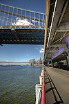 East River Bridge and the Brooklyn Bridge, Manhattan, New York City.