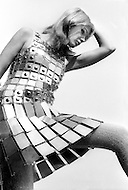 New York City. October, 1966. Fashion Picture: Yasmine Moyal, french actress, wearing a Paco Rabanne metal dress.