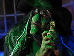Portrait of a scary old witch illuminated with eerie blue green lighting