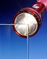 TRANSPARENT, TRANSLUCENT, OPAQUE (1 of 3)<br /> Flashlight Shining Through Transparent Glass<br /> The flashlight beam passes through the glass demonstrating the property of transparency. Transparent materials cast no shadow.