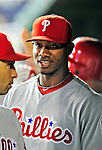 29 September 2010: Philadelphia Phillies' outfielder Domonic Brown stands in the dugout during a game against the Washington Nationals at Nationals Park in Washington, DC. The Phillies defeated the Nationals 7-1 to take the rubber game of their 3-game series. Mandatory Credit: Ed Wolfstein Photo