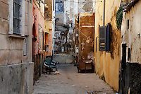 """Narow streets of the old city of the Portuguese Fortified city of Mazagan, El Jadida, Morocco. El Jadida, previously known as Mazagan (Portuguese: Mazag""""o), was seized in 1502 by the Portuguese, and they controlled this city until 1769.  Picture by Manuel Cohen"""