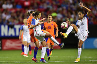 Atlanta, GA - Sunday Sept. 18, 2016: Sherida Spitsez, Carli Lloyd, Christen Press during a international friendly match between United States (USA) and Netherlands (NED) at Georgia Dome.