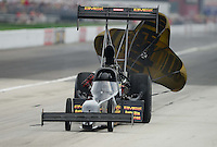 Sept. 1, 2012; Claremont, IN, USA: NHRA top fuel dragster driver Troy Buff during qualifying for the US Nationals at Lucas Oil Raceway. Mandatory Credit: Mark J. Rebilas-