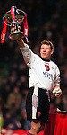 Andy Goram lifts the League Cup at Celtic park after defeating Hearts in the Coca-Cola Cup final