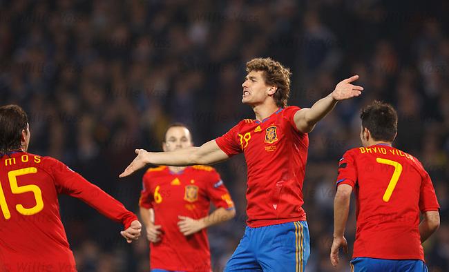 Llorente celebrates his winner for Spain