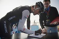 Fabian Cancellara (CHE/TrekFactoryRacing) signing in<br /> <br /> 57th E3 Harelbeke 2014