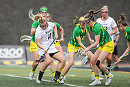 Towson, MD - March 25, 2017: Towson Tigers Natalie Sulmonte (11) tries to get the ball during game between Towson and Oregon at  Minnegan Field at Johnny Unitas Stadium  in Towson, MD. March 25, 2017.  (Photo by Elliott Brown/Media Images International)