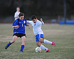 Oxford's Juan Guerra (26) vs. Saltillo in boys high school soccer action at Oxford High School in Oxford, Miss. on Thursday, January 27, 2011.
