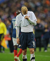 Brek Shea of team USA reacts during the friendly match France against USA at the Stade de France in Paris, France on November 11th, 2011.
