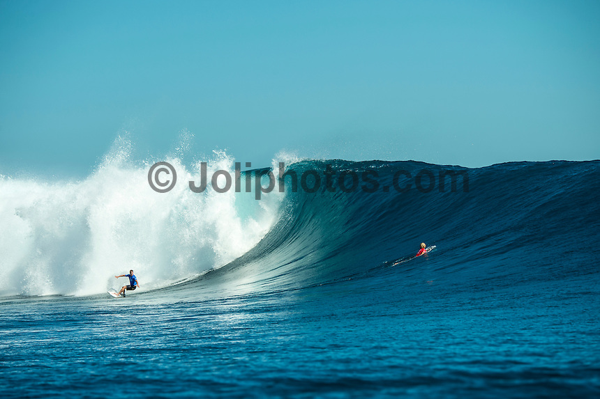 Namotu Island Resort, Nadi, Fiji (Wednesday, June 15 2016): Taj Burrow )AUS) and  John John Florence (HAW) - The Fiji Pro, stop No. 5 of 11 on the 2016 WSL Championship Tour, was recommenced today at Cloudbreak with a new SSW swell in the 6' plus range. The contest had endured a long spell of layaways due to small conditions but it roared back to life with the new swell which is expected to continue for the rest of the waiting period.<br /> The hat of the day was between Taj Burrow (AUS) who has retired for the pro tour and John John Florence (HAW) who is being tipped as a World Champion this year.<br /> Both surfers were counting two 9 pt plus rides in their scores but it was Florence who scraped through finishing Burrows 18 year career on a high.<br /> Photo: joliphotos.com