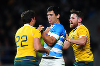 Tempers flare between Matias Moroni of Argentina and Nick Phipps of Australia. The Rugby Championship match between Argentina and Australia on October 8, 2016 at Twickenham Stadium in London, England. Photo by: Patrick Khachfe / Onside Images