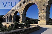 Famous Roman aqueduct Pont  du Gard on Gard River. France