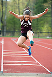 TORRINGTON, CT-051017JS03- Torrington's Michelle Dube competes in the long jump during their meet with Sacred Heart and Wilby Wednesday at Torrington High School. <br /> Jim Shannon Republican-American