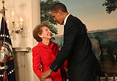 Washington, DC - June 2, 2009 -- United States President Barack Obama and former first lady Nancy Reagan at the signing of the Ronald Reagan Centennial Commission Act in the Diplomatic Reception Room of the White House on Tuesday, June 2, 2009.<br /> Credit: Dennis Brack / Pool via CNP