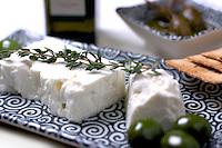 Greek antipasti - Crackers,feta, olives and caperberries