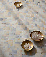 Garden Party, a handmade mosaic shown in Alabaster, Quartz, and Agate Sea Glass&trade;, is part of the Sea Glass&trade; Collection by Sara Baldwin for New Ravenna. <br />