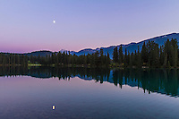 Moon over Lac Beauvert in Jasper National Park, July 2012.