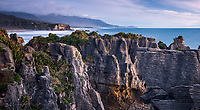 Twilight on pancake rocks in Punakaiki, Paparoa National Park, Buller Region, West Coast, New Zealand, NZ