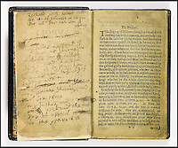 BNPS.co.uk (01202 558833).Pic: Sothebys/BNPS..Handwritten notes accompany the printed text....The most expensive book in the world is coming up for auction at Sothebys - But you will need a whopping £20million to buy it...The historic Book of Psalms was printed by the Pilgrim Fathers on their arrival in the New World in 1640 -making it the first book ever printed in America...The Pilgrims had left Britain for a new life of religious freedom and this prayer book was a tangible example of their new found liberty - containing a text much closer to the hebrew oiginal than would be permitted in Europe...The book was printed in Cambridge Massachusetts in 1640 and is one of only 11 still known to exist...With a £20million estimate the book is even more valuable than Shakespeare's First Folio or the Gutenberg Bible. Making it by far the most expensive printed book in the world...Sothebys New York - 26th Nov - Est £20million. ..