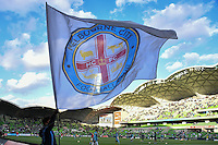 Melbourne, 17 December 2016 - Melbourne City flag waves in the wind prior to the start of the round 11 match of the A-League between Melbourne City and Melbourne Victory at AAMI Park, Melbourne, Australia. Victory won 2-1 (Photo Sydney Low / sydlow.com)