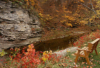 Wooden bench for two overlooking grindstone creek and the facing bluffs in fall season