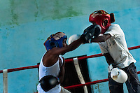 Young Cuban boxers during a heavy training fight at Rafael Trejo boxing gym in Havana, Cuba, 13 February 2010. During the last 30 years Cuba has produced more World Champions and Olympic gold medallists in amateur boxing than any other country. Many famous fighters, who came out of Cuba, were training at Rafael Trejo boxing gym in their youth. This run down open air facility in the Old Havana is a place of learning and mastering the art of boxing by the old school style. Boys begin their training very young. As sports are given a high political priority in Cuba, all children are systematically encouraged to develop their skills. Those who succeed will become heroes of Cuban society.