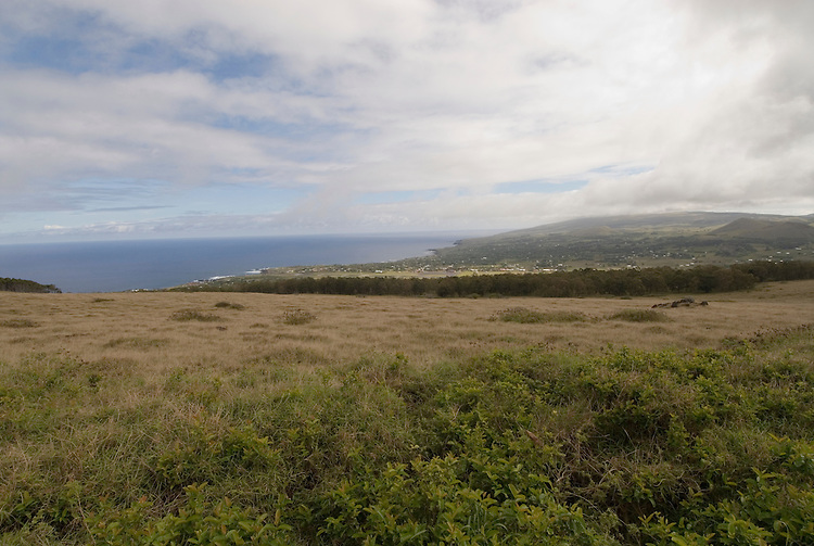 Chile, Easter Island: Promontory overlooking sea near Hanga Roa..Photo #: ch268-33705.Photo copyright Lee Foster www.fostertravel.com lee@fostertravel.com 510-549-2202