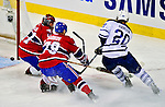 10 April 2010: Montreal Canadiens' goaltender Jaroslav Halak gives up a first period goal to center Christian Hanson during the last game of the regular season against the Toronto Maple Leafs at the Bell Centre in Montreal, Quebec, Canada. The Leafs defeated the Habs 4-3 in sudden death overtime as the Canadiens advance to the Stanley Cup Playoffs with the single point. Mandatory Credit: Ed Wolfstein Photo