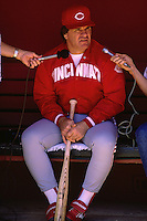 SAN FRANCISCO, CA - Manager Pete Rose of the Cincinnati Reds talks to reporters in the dugout before a game against the San Francisco Giants at Candlestick Park in San Francisco, California in 1987. Photo by Brad Mangin