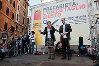 Roma 10  Maggio 2012.Giornata nazionale contro la precarietà e per una riforma del lavoro promossa dalla CGIL.Il Segretario Generale della Cgil, Susanna Camusso, Claudio Di Berardino, segretario generale della Cgil di Roma e del Lazio.Rome May 10, 2012.National Day against precarity and for a labor reform promoted by the CGIL.