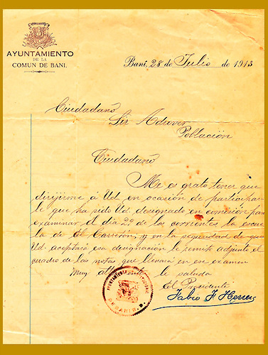 Nombramiento de Sil Adrover en una comisión para examinar en la escuela El Carretón