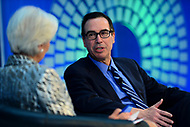 Washington, DC - April 22, 2017: U.S. Treasury Secretary Steven Mnuchin participates in a discussion about the U.S. Economy with International Monetary Fund Managing Director Christine Lagarde during the annual Spring Meetings of the IMF/World Bank Group at the IMF headquarters in the District of Columbia April 22, 2017.  (Photo by Don Baxter/Media Images International)