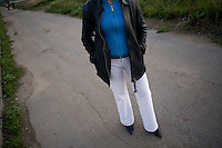 Ira, a sex worker and heroin addict  waits for clients in Kazan, Russia, on Tuesday, September 25, 2007.