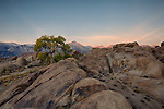 California, east central, Lone Pine. Rock formations in the Alabama Hills recreation area with morning light touching the Sierra Nevada Mountains.