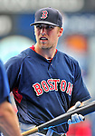11 March 2010: Boston Red Sox first baseman Lars Anderson awaits his turn in the batting cage prior to a Spring Training game against the New York Mets at Tradition Field in Port St. Lucie, Florida. The Red Sox defeated the Mets 8-2 in Grapefruit League action. Mandatory Credit: Ed Wolfstein Photo