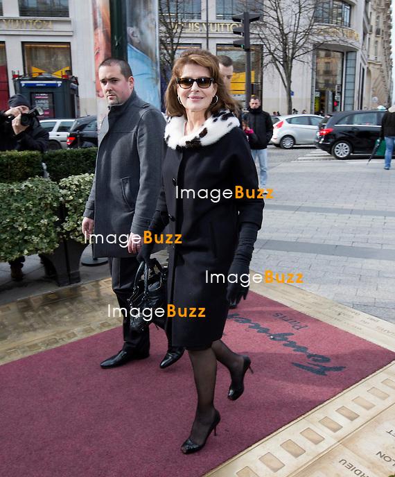 Fanny Ardant arrive au D&eacute;jeuner des nomm&eacute;s &agrave; la c&eacute;r&eacute;monie des C&eacute;sar 2014, au Fouquet's &agrave; Paris.<br /> France, Paris, 8/02/2014
