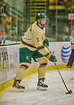 14 December 2013: University of Vermont Catamount Defenseman Michael Paliotta, a Junior from Westport, CT, in third period action against the Saint Lawrence University Saints at Gutterson Fieldhouse in Burlington, Vermont. The Catamounts defeated their former ECAC rivals, 5-1 to notch their 5th straight win in NCAA non-divisional play. Mandatory Credit: Ed Wolfstein Photo *** RAW (NEF) Image File Available ***