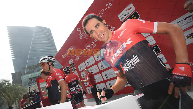 Alberto Contador (ESP) Trek-Segafredo at sign on before the start of Stage 2 the Nation Towers Stage of the 2017 Abu Dhabi Tour, running 153km around the city of Abu Dhabi, Abu Dhabi. 24th February 2017<br /> Picture: ANSA/Claudio Peri | Newsfile<br /> <br /> <br /> All photos usage must carry mandatory copyright credit (&copy; Newsfile | ANSA)