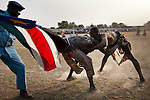 Wrestlers from different tribes compete during the finals in Juba.