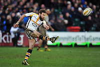 Ruaridh Jackson of Wasps puts boot to ball. Aviva Premiership match, between Bath Rugby and Wasps on February 20, 2016 at the Recreation Ground in Bath, England. Photo by: Patrick Khachfe / Onside Images