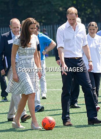 "*** Minimum Fee Applies *** - Must Telephone +441279 324672..CATHERINE, DUCHESS OF CAMBRIDGE HAS  A KICK-A-BOUT.After a bit of coxing Kate decided to have a go at kicking a football..But with the first attempt seeeing the ball hardly travel, she decided to have another go with guidance from hubby Prince William..The second attempt saw the ball go further. The Prince himself at earlier had an attempt at goal. The royal couple were joined by Prince Harry at Bacon's College, South London for the sports-themed event, to launch the Coach Core programme, a partnership bewteen their Foundation and Greenhouse_26/07/2012.Mandatory credit photo: ©Dias/DIASIMAGES..(Failure to credit will incur a surcharge of 100% of reproduction fees)..                **ALL FEES PAYABLE TO: ""NEWSPIX INTERNATIONAL""**..IMMEDIATE CONFIRMATION OF USAGE REQUIRED:.DiasImages, 31a Chinnery Hill, Bishop's Stortford, ENGLAND CM23 3PS.Tel:+441279 324672  ; Fax: +441279656877.Mobile:  07775681153.e-mail: info@newspixinternational.co.uk"