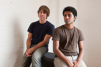 "Dennis Crowley (L) and Naveen Selvadurai, co-founders of social media website Foursquare pose for the photographer in their shared office in New York, USA, 5 August 2009. Foursquare, which allows users to stay connected to friends and explore a city, has been dubbed ""the next Twitter"" by an influential tech blog."