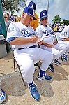 12 March 2008: Los Angeles Dodgers' interim manager Tommy Lasorda jots down a note at a Spring Training game between the Washington Nationals and the LA Dodgers at Holman Stadium, in Vero Beach, Florida. Lasorda is replacing manager Joe Torre who is traveling to China with a group of Dodger players for an exhibition series of games. The Nationals defeated the Dodgers 10-4 at the historic Dodgertown ballpark. 2008 marks the final season of Spring Training at Dodgertown for the Dodgers, as the team will move to new training facilities in Arizona starting in 2009 after 60 years in Florida...Mandatory Photo Credit: Ed Wolfstein Photo