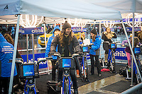 Visitors to Times Square in New York on Sunday, December 29, 2013 peddle  on CitiBikes connected to generators to store power to light the New Year's Eve ball drop. Each bike is connected to a deep-cycle battery and is generates 75 watts an hour with 50,000 watts needed to power the 30,000 LED's on the ball. The energy created will be pumped into the power grid.  (© Richard B. Levine)
