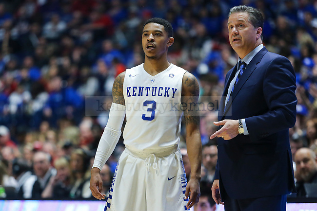Guard Tyler UIis and head coach John Calipari watch a free throw during the game against the Alabama Tide at the SEC Tournament at Bridgestone Arena in Nashville, TN, on Friday, March 11, 2016. Photo by Michael Reaves | Staff.