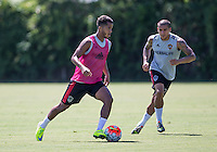 Carson, CA. - Tuesday, August 4, 2015: Los Angeles Galaxy newly acquired Mexican National Giovani dos Santos trains with his club for the fist time at StubHub Center.