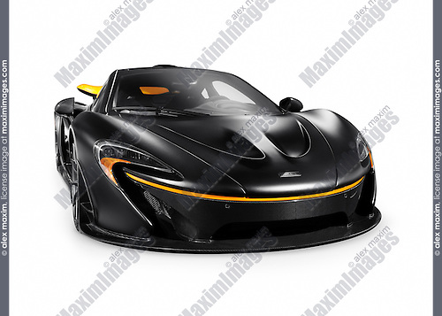 Matte black 2015 McLaren P1 plug-in hybrid supercar isolated sports car on white background with clipping path