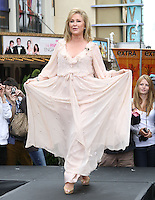 "Kathy Hilton.Gabriel Mann And Kathy And Paris Hilton Fashion Show On ""Extra"" Held at The Grove, West Hollywood, California, USA..May 2nd, 2012.full length white beige pink dress maxi holding skirts .CAP/ADM/KB.©Kevan Brooks/AdMedia/Capital Pictures."